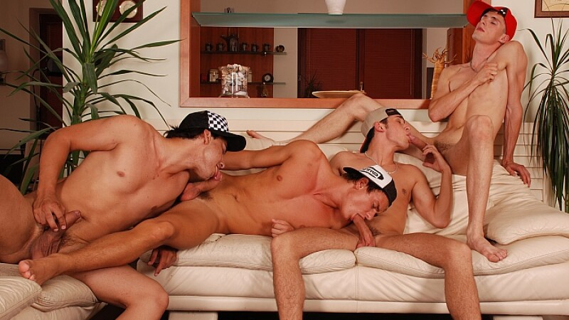 Twink Fourway Fuck On Sofa